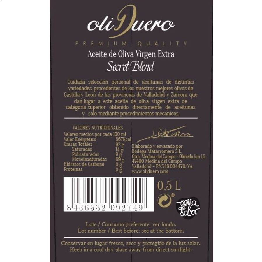 Aceite de Oliva Virgen Extra Oliduero Secret Blend 50cl, 3uds