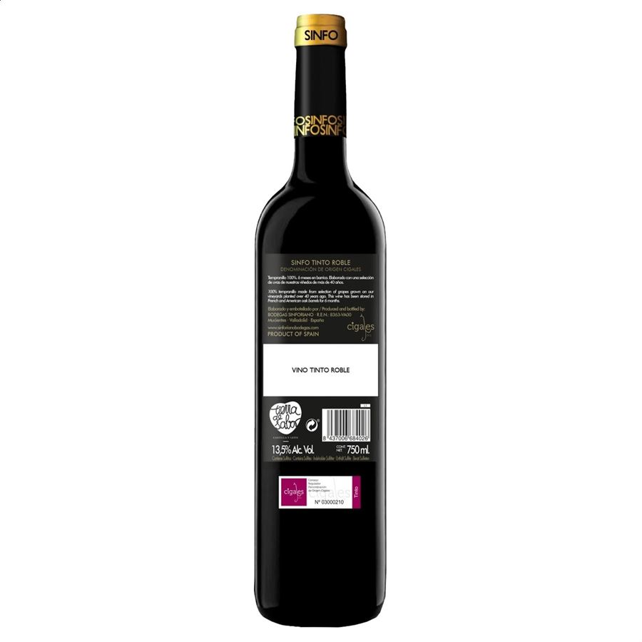 Sinfo roble - Vino tinto D.O. Cigales 75cl, 6 uds